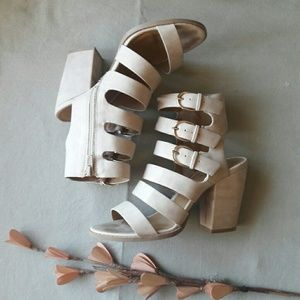Qupid Shoes - Strappy Buckle High Heel Sandals